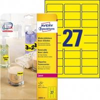 Usuwalne etykiety neonowe Avery Zweckform, A4, 25 ark./op., 63,5 x 29,6 mm, żółte neonowe, Etykiety do oznaczania, Papier i etykiety