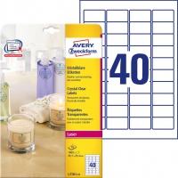 Etykiety przezroczyste Crystal Clear Avery Zweckform, A4, 25 ark./op., 45,7 x 25,4 mm, Etykiety do oznaczania, Papier i etykiety