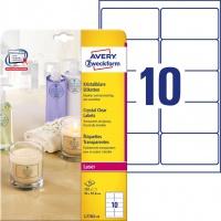 Etykiety przezroczyste Crystal Clear Avery Zweckform, A4, 25 ark./op., 96 x 50,8 mm, Etykiety do oznaczania, Papier i etykiety
