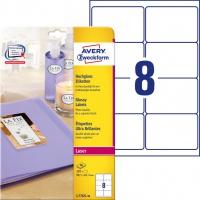 Etykiety błyszczące Avery Zweckform, A4, 40 ark./op., 99,1 x 67,7 mm, białe, Etykiety do oznaczania, Papier i etykiety