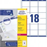 Etykiety adresowe białe Avery Zweckform; A4, 100 ark./op., 63,5 x 46,6 mm, Etykiety na listy i koperty, Papier i etykiety