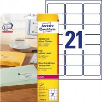 Etykiety adresowe przezroczyste Avery Zweckform; A4, 25 ark./op., 63,5 x 38,1 mm, Etykiety na listy i koperty, Papier i etykiety