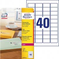 Etykiety adresowe przezroczyste Avery Zweckform; A4, 25 ark./op., 45,7 x 25,4 mm, Etykiety na listy i koperty, Papier i etykiety