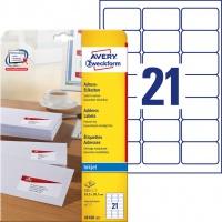 Etykiety adresowe białe Avery Zweckform; A4, 25 ark./op., 63,5 x 38,1 mm, Etykiety na listy i koperty, Papier i etykiety