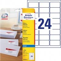 Etykiety adresowe białe Avery Zweckform; A4, 25 ark./op., 63,5 x 33,9 mm, Etykiety na listy i koperty, Papier i etykiety
