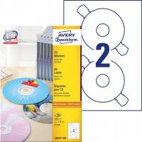 Etykiety na płyty CD Avery Zweckform; A4, 100 ark./op., ø117 mm, białe, Etykiety na nośniki danych, Papier i etykiety