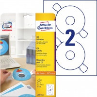 Etykiety na płyty CD Avery Zweckform; A4, 25 ark./op., ø117 mm, białe, Etykiety na nośniki danych, Papier i etykiety