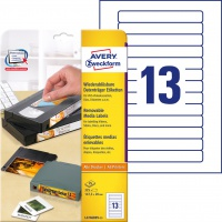 Usuwalne etykiety na kasety wideo Avery Zweckform; A4, 25 ark./op., 147,3 x 20 mm, białe, Etykiety na nośniki danych, Papier i etykiety