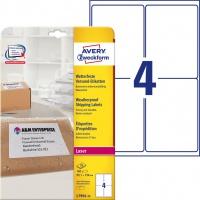 Etykiety wysyłkowe odporne na zmiany pogodowe Avery Zweckform; A4, 25 ark./op., 99,1 x 139 mm, białe, Etykiety na paczki i przesyłki, Papier i etykiety