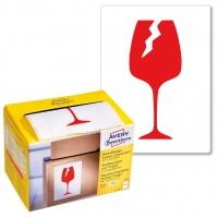 Ostrzegawcze etykiety wysyłkowe Avery Zweckform 'Ostrożnie szkło' w dyspenserze; 200 etyk./op., 74 x 100 mm, czerwone, Etykiety na paczki i przesyłki, Papier i etykiety