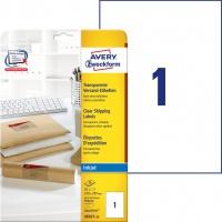 Etykiety wysyłkowe przezroczyste Avery Zweckform; A4, 25 ark./op., 210 x 297 mm, Etykiety na paczki i przesyłki, Papier i etykiety