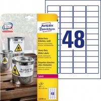 Etykiety Heavy Duty Avery Zweckform; A4, 20 ark./op., 45,7 x 21,2 mm, białe, poliestrowe, Etykiety ochronne i zabezpieczające, Papier i etykiety