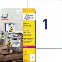 Etykiety Heavy Duty Avery Zweckform; A4, 20 ark./op., 210 x 297 mm, białe, poliestrowe, Etykiety ochronne i zabezpieczające, Papier i etykiety