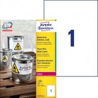 Etykiety Heavy Duty Avery Zweckform; A4, 100 ark./op., 210 x 297 mm, białe, poliestrowe, Etykiety ochronne i zabezpieczające, Papier i etykiety