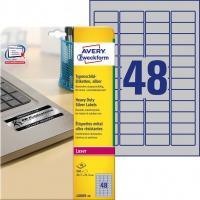 Etykiety znamionowe srebrne Avery Zweckform; A4, 20 ark./op., 45,7 x 21,2 mm, poliestrowe, Etykiety ochronne i zabezpieczające, Papier i etykiety