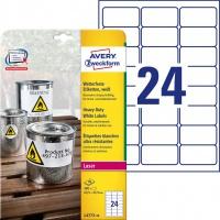 Etykiety Heavy Duty Avery Zweckform; A4, 20 ark./op., 63,5 x 33,9 mm, białe, poliestrowe, Etykiety ochronne i zabezpieczające, Papier i etykiety