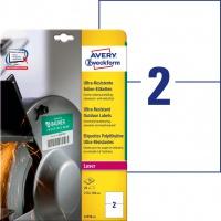 Etykiety polietylenowe ultra resistant Avery Zweckform, A4, 10 ark./op., 210 x 148mm, białe, Etykiety ochronne i zabezpieczające, Papier i etykiety