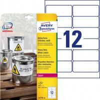 Etykiety Heavy Duty Avery Zweckform; A4, 20 ark./op., 99,1 x 42,3 mm, białe, poliestrowe, Etykiety ochronne i zabezpieczające, Papier i etykiety