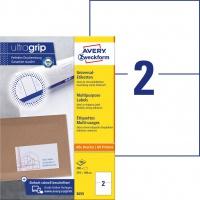 Trwałe etykiety uniwersalne Avery Zweckform; A4, 100 ark./op., 210 x 148 mm, białe, Etykiety uniwersalne, Papier i etykiety