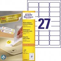 Usuwalne etykiety uniwersalne Avery Zweckform; A4, 100 ark./op., 63,5 x 29,6 mm, białe, Etykiety uniwersalne, Papier i etykiety