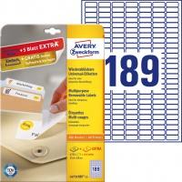 Usuwalne etykiety uniwersalne Avery Zweckform; A4, 30 ark./op., 25,4 x 10 mm, białe, Etykiety uniwersalne, Papier i etykiety