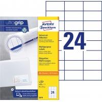 Trwałe etykiety uniwersalne Avery Zweckform; A4, 100 ark./op., 70 x 37 mm, białe, Etykiety uniwersalne, Papier i etykiety