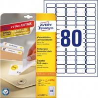 Usuwalne etykiety uniwersalne Avery Zweckform; A4, 30 ark./op., 35,6 x 16,9 mm, białe, Etykiety uniwersalne, Papier i etykiety