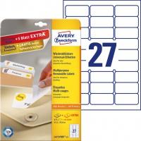 Usuwalne etykiety uniwersalne Avery Zweckform; A4, 30 ark./op., 63,5 x 29,6 mm, białe, Etykiety uniwersalne, Papier i etykiety