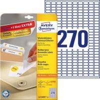 Usuwalne etykiety uniwersalne Avery Zweckform; A4, 30 ark./op., 17,8 x 10 mm, białe, Etykiety uniwersalne, Papier i etykiety
