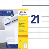 Trwałe etykiety uniwersalne Avery Zweckform; A4, 100 ark./op., 70 x 42,3 mm, białe, Etykiety uniwersalne, Papier i etykiety