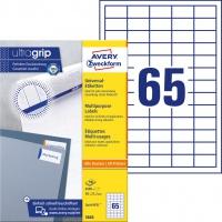 Trwałe etykiety uniwersalne Avery Zweckform; A4, 100 ark./op., 38 x 21,2 mm, białe, Etykiety uniwersalne, Papier i etykiety