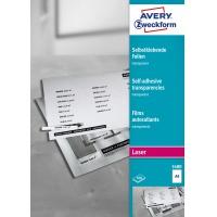 Przezroczyste folie samoprzylepne; A4, 100 szt./op., powlekane, grubość 0,14 mm, Avery Zweckform, Folie, Papier i etykiety