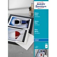 Błyszczące folie samoprzylepne; A4, 50 szt./op., powlekane, grubość 0,2 mm, białe, wysokobłyszczące, Avery Zweckform, Folie, Papier i etykiety