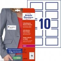 Samoprzylepne identyfikatory do zadruku Avery Zweckform; A4, 20 ark./op., 80 x 50 mm, niebieska ramka, sztuczny jedwab, Identyfikatory imienne, Papier i etykiety