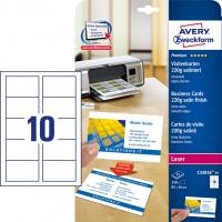 Wizytówki Quick&Clean; 85 x 54 mm, 250 szt., 220 g, satynowane, śnieżnobiałe, Avery Zweckform, Karty i wizytówki, Papier i etykiety