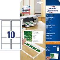 Wizytówki Quick&Clean; 85 x 54 mm, 250 szt., 200 g, matowe, białe, Avery Zweckform, Karty i wizytówki, Papier i etykiety