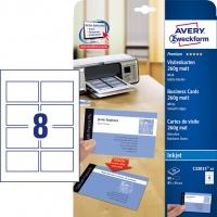 Wizytówki Quick&Clean; 85 x 54 mm, 80 szt., 260 g, matowe, białe, Avery Zweckform, Karty i wizytówki, Papier i etykiety