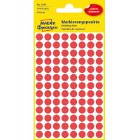 Kolorowe kółka do zaznaczania Avery Zweckform; 416 etyk./op., Ø8 mm, czerwone, Kółka do zaznaczania, Papier i etykiety
