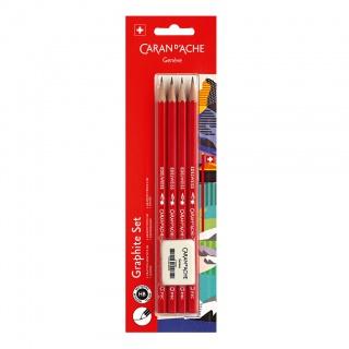 Ołówki HB Edelweiss 4szt + gumka, blister, Ołówki, Artykuły do pisania i korygowania