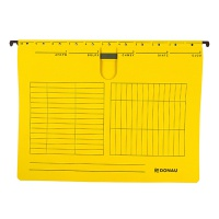 Suspension File DONAU with filling strip fastener, A4, 230gsm, yellow, Hanging folders, Document archiving