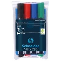 Zestaw markerów do tablic SCHNEIDER Maxx 290, 2-3mm, 4 szt., miks kolorów, Markery, Artykuły do pisania i korygowania