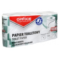 Papier toaletowy celulozowy OFFICE PRODUCTS Premium, 3-warstwowy, 150 listków, 15m, 8szt., biały, Papiery toaletowe i dozowniki, Artykuły higieniczne i dozowniki