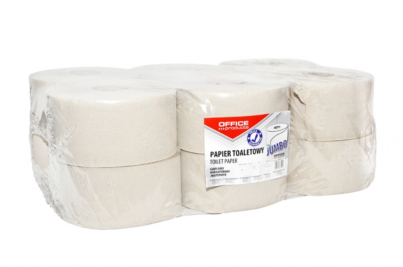 Papier toaletowy makulaturowy Jumbo 1-warstwowy 120m 12szt. szary, Papiery toaletowe i dozowniki, Artykuły higieniczne i dozowniki