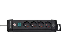 Power Strip BRENNERSTUHL Premium, 4 sockets, clip, 1.8 m, with a switch, black