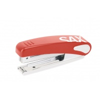 Stapler, SAXDesign 219, capacity up to 10 sheets, integrated staple remover, red