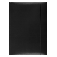Teczka z gumką OFFICE PRODUCTS, karton/lakier, A4, 350gsm, 3-skrz., czarna, Teczki płaskie, Archiwizacja dokumentów