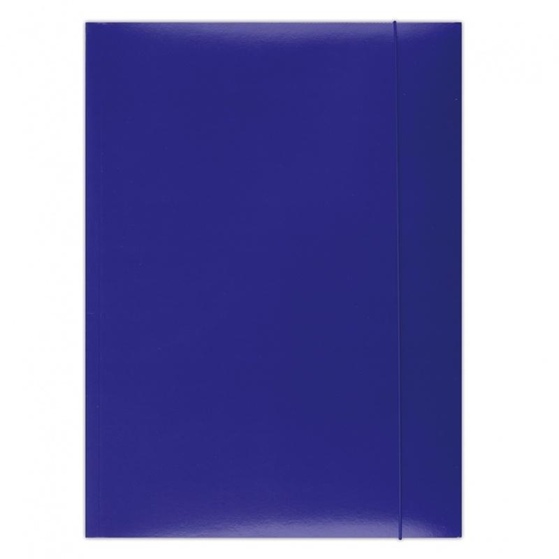 Teczka z gumką OFFICE PRODUCTS, karton/lakier, A4, 350gsm, 3-skrz., niebieska, Teczki płaskie, Archiwizacja dokumentów