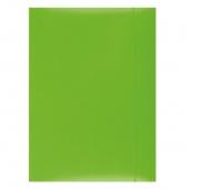Teczka z gumką OFFICE PRODUCTS, karton/lakier, A4, 350gsm, 3-skrz., zielona, Teczki płaskie, Archiwizacja dokumentów