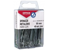 Metal paper clips, OFFICE PRODUCTS, smooth, 50 mm, in a box, 40 pieces, silver