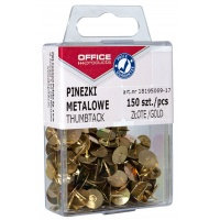 Drawing pins (thumb tacks), OFFICE PRODUCTS, in a box, 150 pcs, golden